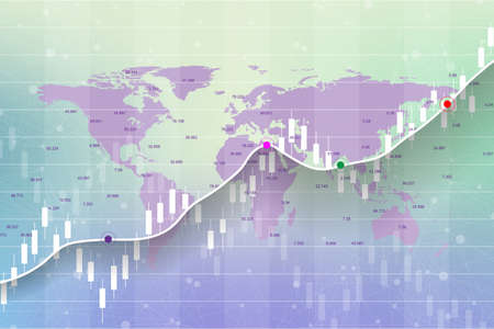 Stock market and exchange. Candle stick graph chart of stock market investment trading on World map background design. Stock market data. Bullish point, Trend of graph. Vector illustration.