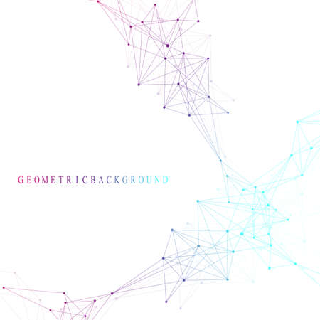 Geometric graphic background molecule and communication. Big data complex with compounds. Perspective backdrop. Minimal array. Digital data visualization. Scientific cybernetic vector illustration Vettoriali