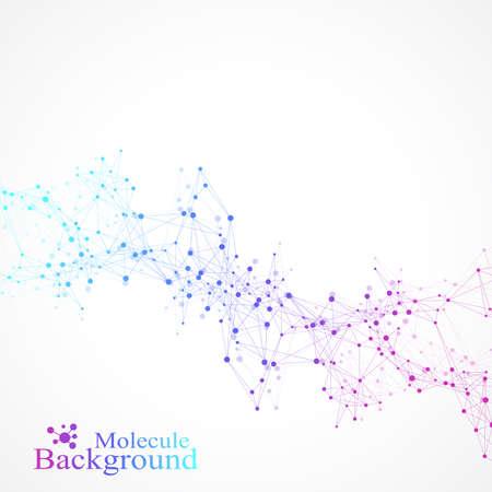 Molecola di struttura e comunicazione. DNA, atomo, neuroni. Sfondo di molecola scientifica per medicina, scienza, tecnologia, chimica. Illustrazione vettoriale