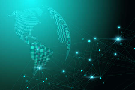 Global network with world map. Abstract vector infinite space background. Perspective backdrop. Digital data visualization. Vector illustration.