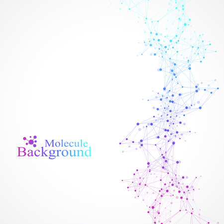 Molécula de fondo gráfico geométrico y comunicación. Gran complejo de datos con compuestos. Perspectiva de fondo. Matriz mínima. Visualización de datos digitales. Ilustración cibernética científica del vector Ilustración de vector