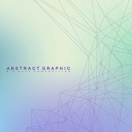 Geometric graphic background molecule and communication. Big data complex with compounds. Perspective backdrop. Minimal array. Digital data visualization. Scientific cybernetic vector illustration. 矢量图像