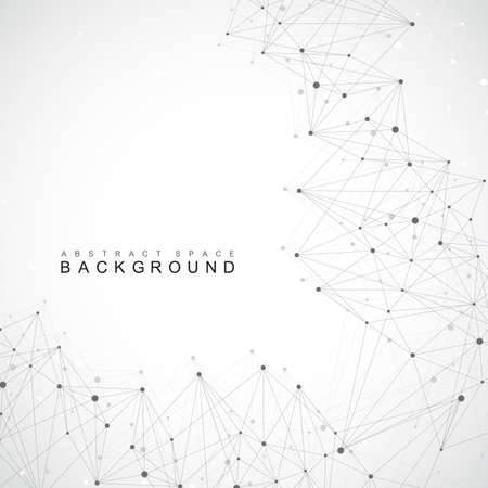 Geometric abstract background with connected lines and dots. Big data composition.  イラスト・ベクター素材