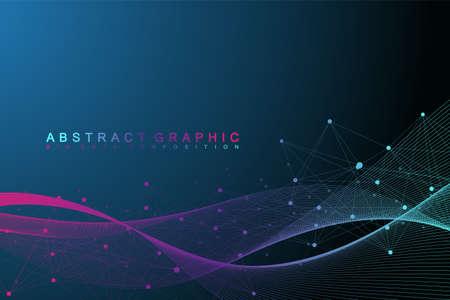 Geometrisches grafisches Hintergrundmolekül und -kommunikation. Big-Data-Komplex mit Verbindungen. Perspektive Hintergrund. Minimales Array Große Datenmengen. Digitale Datenvisualisierung. Wissenschaftliche Vektor-Illustration Vektorgrafik