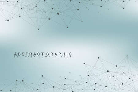 Geometric graphic background molecule and communication. Big data complex with compounds. Perspective backdrop. Minimal array Big data. Digital data visualization. Scientific vector illustration.