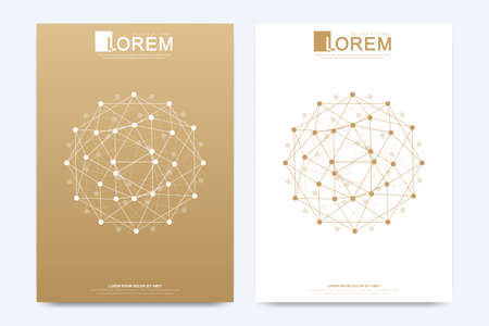 Modern vector template for brochure Leaflet flyer advert cover catalog magazine or annual report. Geometric pattern with connected lines and dots. Cybernetic dots. Lines plexus. Card surface. Vettoriali