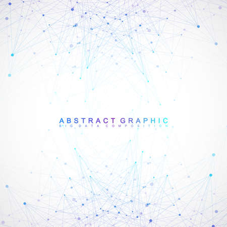 Geometric graphic background communication. Big data complex with compounds. Perspective backdrop. Minimal array. Digital data visualization. Scientific cybernetic vector illustration. Illusztráció