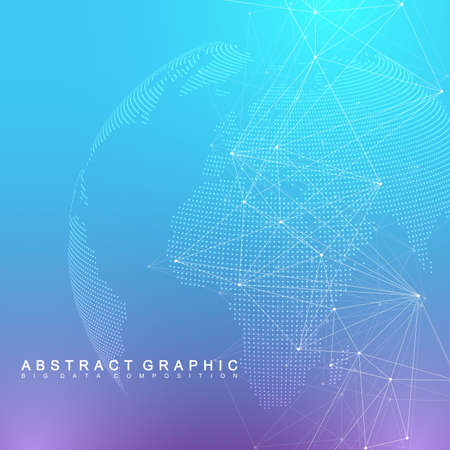 Global network connection. Network and big data visualization background. Global business. Vector Illustration.