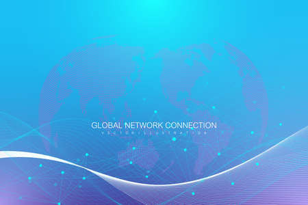 Global network connection. Network and big data exchange over planet earth in space. Global business. Vector Illustration. Çizim