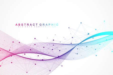 Fondo abstracto geométrico con puntos y líneas conectadas. Flujo de olas. Molécula y antecedentes de comunicación. Fondo gráfico para su diseño. Ilustración vectorial
