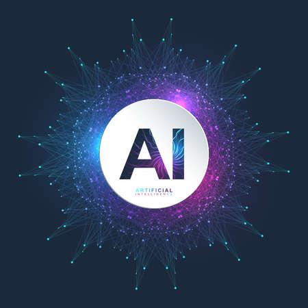 Künstliche Intelligenz Logo. Konzept der künstlichen Intelligenz und des maschinellen Lernens. Vektorsymbol AI. Neuronale Netze und andere moderne Technologiekonzepte. Technologie-Science-Fiction-Konzept.