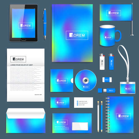Blue business set of vector corporate identity template. Modern stationery mock-up. Abstract fluid 3d shapes vector trendy liquid colors background. Colored fluid graphic composition. Branding design.