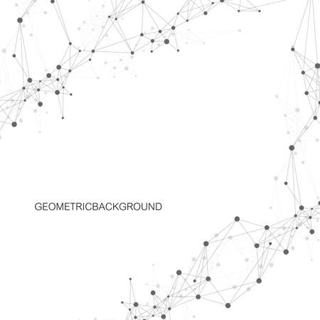 Geometric abstract vector with connected line and dots. Global network connection background. Technological sense abstract illustration.