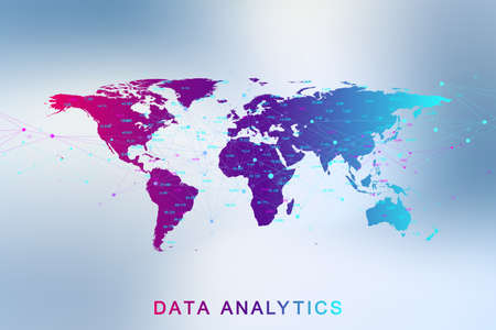 Big data analytics and business intelligence. Digital analytics concept with graph and charts. Financial schedule World Map infographic. Vector illustration.