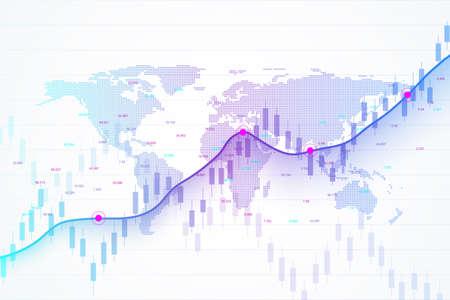 Giełda i giełda. Wykres ze świecami stick wykres handlu inwestycjami na giełdzie. Dane giełdowe. Byczy punkt, trend wykresu. Ilustracji wektorowych. Ilustracje wektorowe
