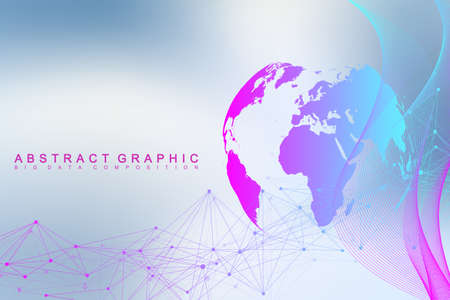 Big data complex world globe, Graphic abstract background communication.