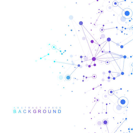 Geometric graphic background molecule and communication. Big data complex with compounds. Perspective backdrop. Minimal array. Digital data visualization. Scientific cybernetic vector illustration. 向量圖像