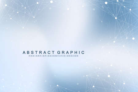 Geometric graphic background molecule and communication. Big data complex with compounds. Perspective backdrop. Minimal array. Digital data visualization. Scientific cybernetic vector illustration  イラスト・ベクター素材
