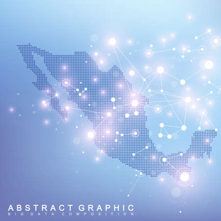 Abstract map of Mexico global network connection. Vector background technology futuristic plexus Illustration
