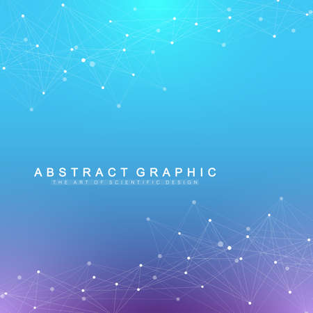 Geometric graphic background artificial intelligence. Turbulence flow trail. Futuristic science and technology background. Big data visualization complex with compounds. Cybernetics illustration