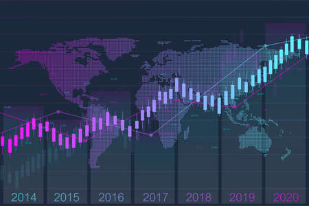 Business candle stick graph chart of stock market investment trading with world map. Stock market and exchange. Stock market data. Trend of graph. Vector illustration for your design. Vettoriali