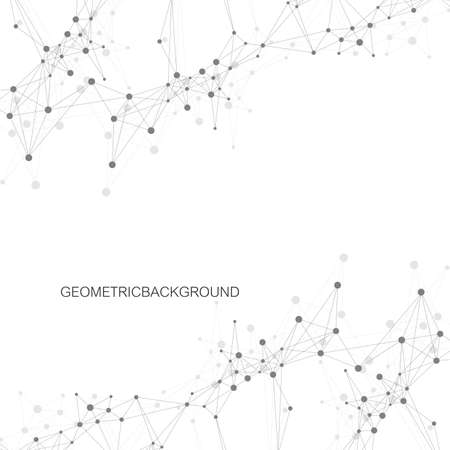 Geometric abstract background with connected line and dots. Graphic background for your design Vector illustration