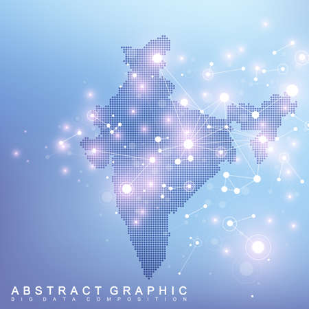 Abstract map of india country global network connection. Vector background technology futuristic