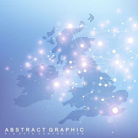 Abstract map of United Kingdon country global network connection. Vector background technology futuristic plexus