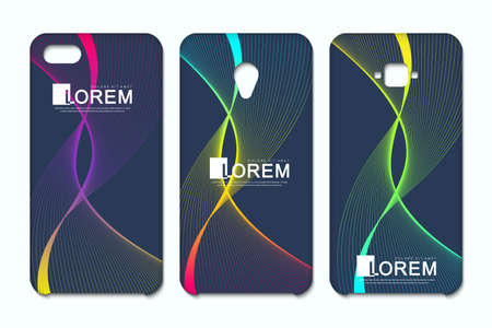Vector phone x wallpaper collection. Geometric abstract background. Editable gradient mesh masked into phone shape. Wave flow. Illustration