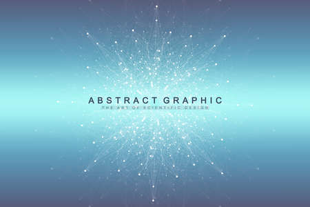 Big data visualization. Graphic abstract background communication. Perspective backdrop. Minimal array. Digital data visualization. Representing the global, international meaning. Vector illustration Stock Illustratie