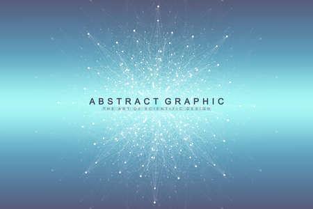 Visualización de big data. Comunicación gráfica de fondo abstracto. Telón de fondo de perspectiva. Matriz mínima. Visualización de datos digitales. Representando el significado global e internacional. Ilustración vectorial