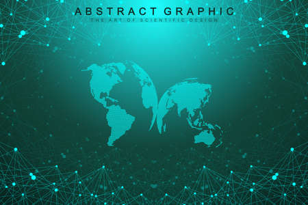 Three-dimensional abstract planet, representing the global, international meaning technology networking concept. Digital data visualization. Big Data background communication vector illustration.