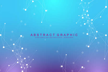 Geometric graphic background artificial intelligence. Turbulence flow trail. Futuristic science and technology background. Big data visualization complex with compounds.