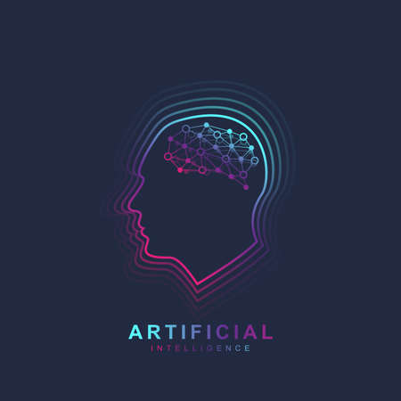 Artificial Intelligence and Machine Learning Logo Concept. Human head outline with brain icon. Vector symbol AI. Brain Logotype Template.  イラスト・ベクター素材