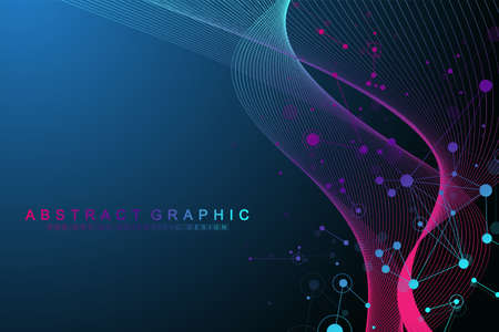 Geometric abstract background with connected lines and dots. Wave flow. Molecule and communication background. Graphic background for your design. Vector illustration.