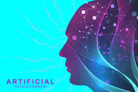 Futuristic Artificial Intelligence and Machine Learning Concept.. Human Big Data Visualization. Wave Flow Communication, Scientific vector illustration. Illustration