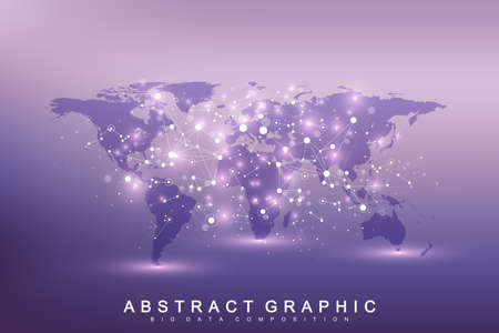 World map point with global technology networking concept. Digital data visualization. Lines plexus. Big Data background communication. Scientific vector illustration.