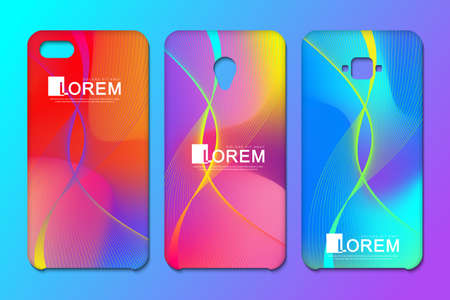 Vector phone x wallpaper collection. Editable gradient mesh masked into phone shape. Wave flow. Abstract fluid 3d shapes vector trendy liquid colors backgrounds. Colored fluid graphic composition Stock Vector - 103919144