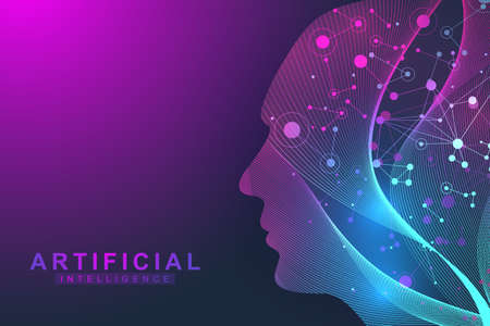 Futuristic Artificial Intelligence and Machine Learning Concept.. Human Big Data Visualization. Wave Flow Communication, Scientific vector illustration. Vectores