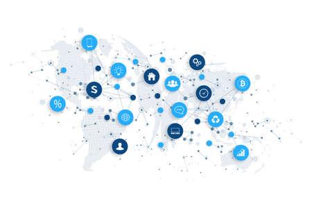 Internet delle cose IoT e connessione di rete concept design vettoriale. Concetto digitale intelligente
