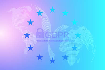 GDPR - General Data Protection Regulation. Dotted Europe map and flag. Protection of personal data. Vector illustration