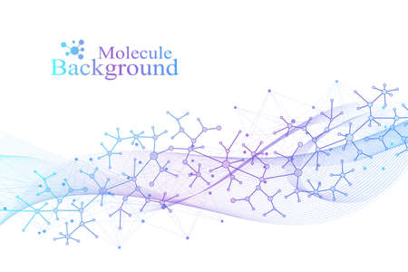 Scientific vector illustration genetic engineering and gene manipulation concept. DNA helix, DNA strand, molecule or atom, neurons. Abstract structure for Science or medical background. Ilustração