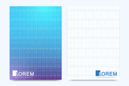 Modern vector template for brochure, Leaflet, flyer, cover, booklet, banner, magazine or annual report. A4 size. Abstract presentation book layout. Geometric pattern with connected lines and dots.