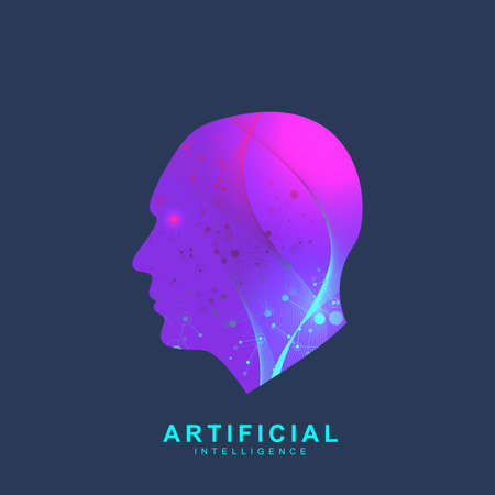 Artificial Intelligence Logo. Artificial Intelligence and Machine Learning Concept. Vector symbol AI. Neural networks and another modern technologies concepts. Technology sci-fi concept