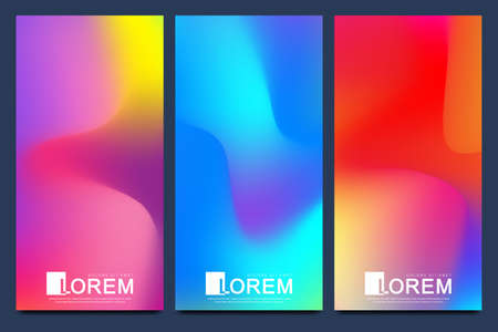 Packaging product design label and stickers templates for luxury or premium products brands in trendy vibrant gradient colors with abstract fluid shapes, paint splashes, ink drops. Futuristic banners