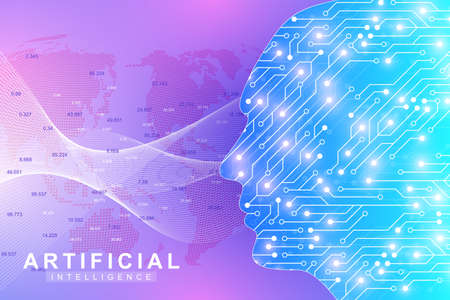 Futuristic Artificial Intelligence and Machine Learning Concept. Human Big Data Visualization. Wave Flow Communication, Scientific vector illustration Illustration