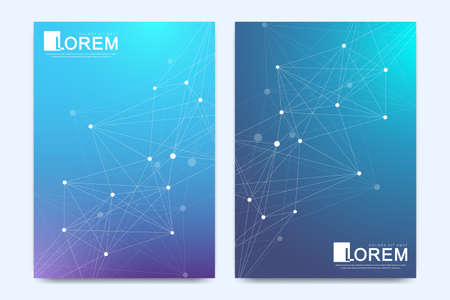 Modern vector template for brochure Leaflet flyer advert cover banner magazine or annual report. Business, science, medical design A4 book layout. Cybernetic dots and lines plexus. Card surface