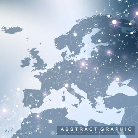 Geometric graphic background communication with Europe Map. Big data complex with compounds. Perspective backdrop. Minimal array. Digital data visualization. Scientific cybernetic vector illustration.