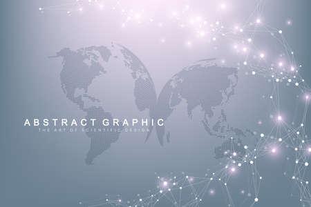 Visualisation de Big Data. Communication de fond abstrait graphique. Toile de fond de perspective. Tableau minimal. Visualisation des données numériques. Représenter la signification mondiale et internationale. Illustration vectorielle.