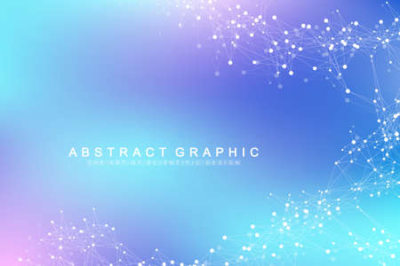 Abstrait de la technologie avec ligne connectée et points. Visualisation de Big Data. Visualisation de la toile de fond en perspective. Réseaux analytiques. Illustration vectorielle
